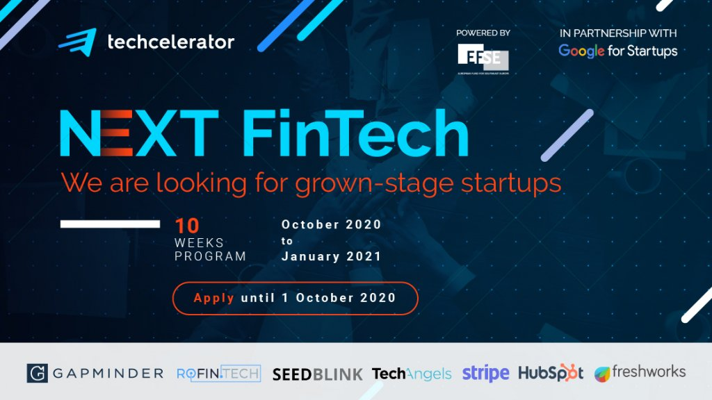 Techcelerator opens applications for fifth batch, with focus on Fintech startups, in partnership with several European and local partners